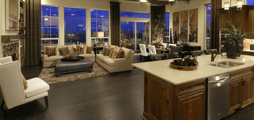 Home of the week residence 7545 plan by century communities for Kitchen great room floor plans